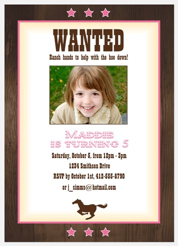 Most Wanted Girl! Kids' Birthday Invitations