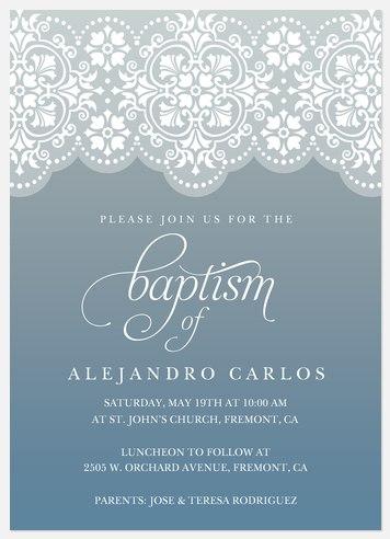 Sundown Lace Baptism Christening Invitations