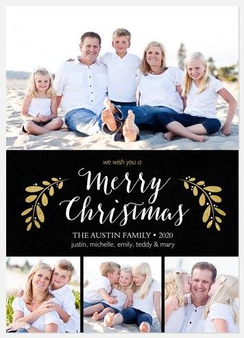 Glam Laurels Holiday Photo Cards