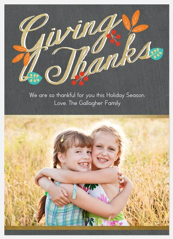 Golden Thanks Thanksgiving Cards