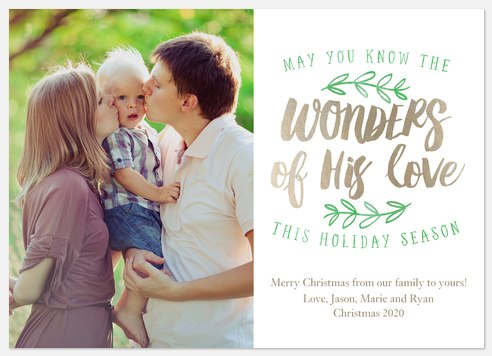 Shimmering Wonder  Holiday Photo Cards