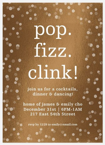 Pop, Fizz, Clink Holiday Party Invitations