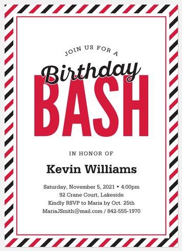 Birthday Bash Adult Birthday Invitations
