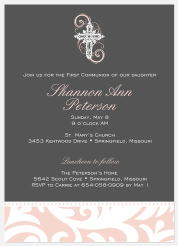 Crystal Cross Pink First Communion Invitations