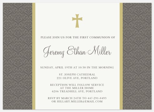 Chartreuse Silver Cross First Communion Invitations