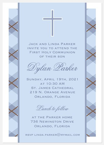 Blue Plaid Blessing First Communion Invitations