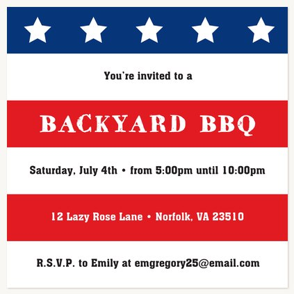 summer party invitations american flag