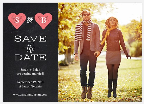 Chalkboard Hearts Save the Date Photo Cards