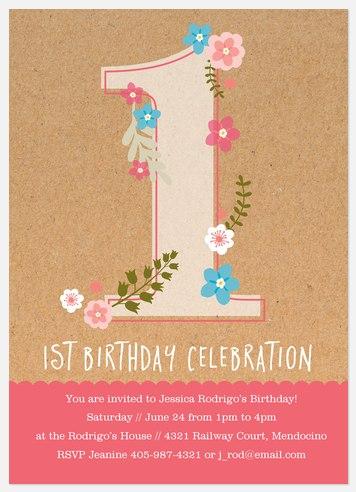 Sweet Florets Kids' Birthday Invitations