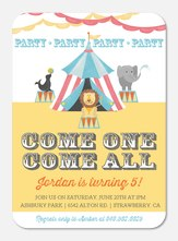 Girl Birthday Party Invitations - Three-Ring Circus