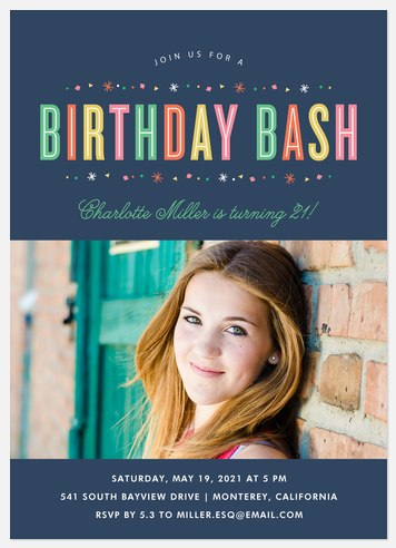 Colorful Delight Adult Birthday Invitations