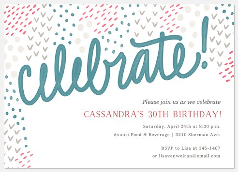 Eclectic Pattern Adult Birthday Invitations