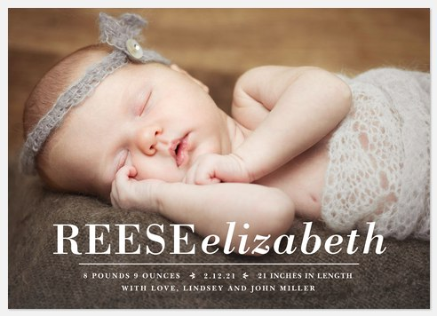 Classic Luxe Baby Birth Announcements