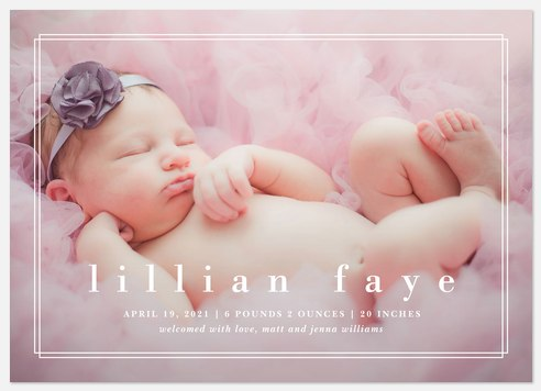 Dimensional Frame Baby Birth Announcements