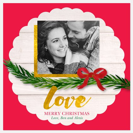 Scalloped Ornament Holiday Photo Cards
