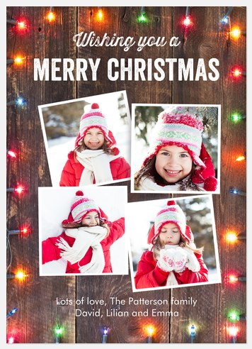 Rustic Lights Holiday Photo Cards