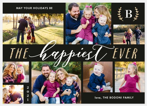 Glittering Laurels Holiday Photo Cards