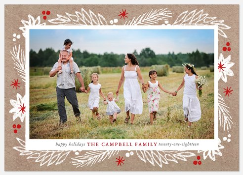 Rustic Foliage Holiday Photo Cards