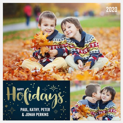 Shimmering Starlight Holiday Photo Cards