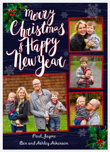 Delightful Holly Holiday Photo Cards