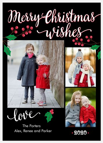 Forest Holly Holiday Photo Cards