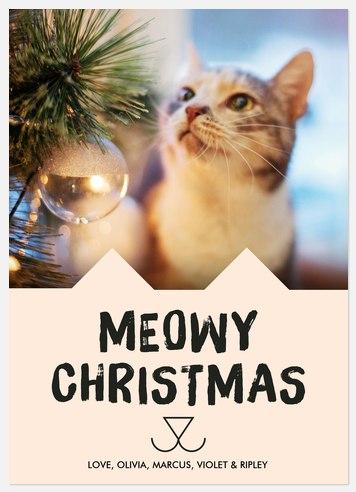 Cheerful Kitty Holiday Photo Cards