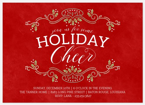 Cheerful Trim Holiday Party Invitations