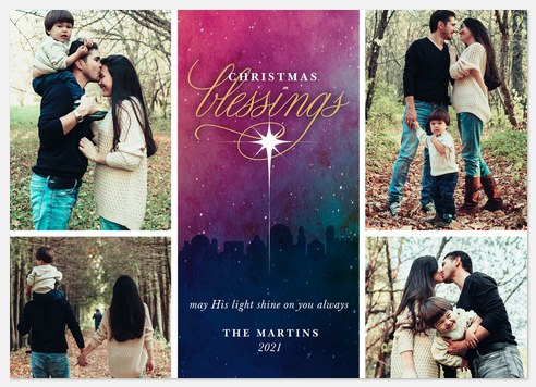 Christmas Star Holiday Photo Cards