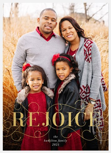 Golden Rejoice Holiday Photo Cards