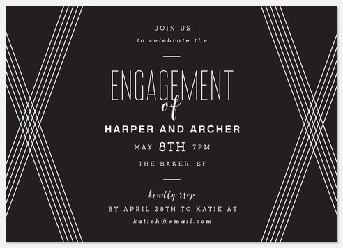Deco Lines Engagement Party Invitations