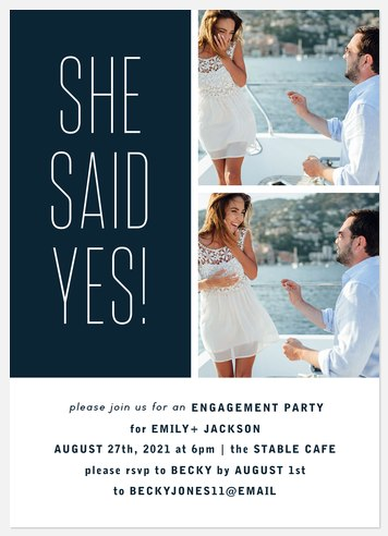 Said Yes Engagement Party Invitations