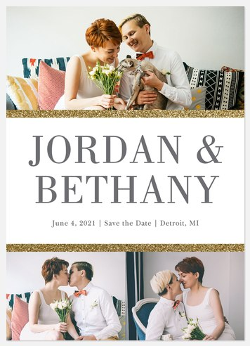 Glittering Borders Save the Date Photo Cards