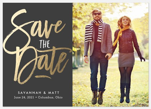 Radiant Script Save the Date Photo Cards