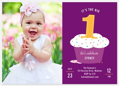 Sweet As A Cupcake Kids' Birthday Invitations