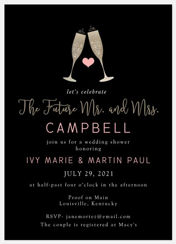 Celebratory Toast Bridal Shower Invitations