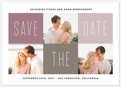 Mauve Blocks Save the Date Photo Cards
