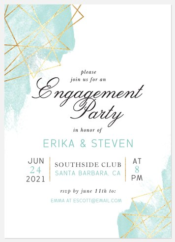 Gilded Geo Engagement Party Invitations
