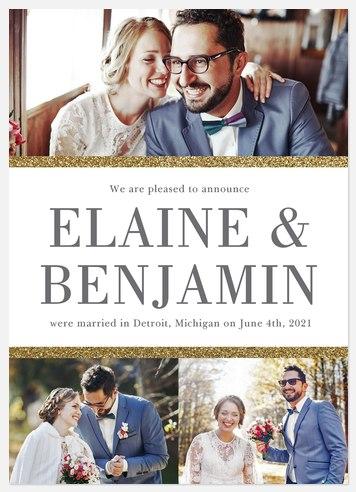 Glittering Borders Wedding Announcements