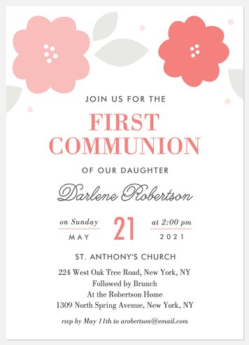 Sweet Blooms First Communion Invitations