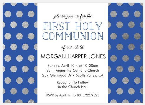 Beaming Dots First Communion Invitations