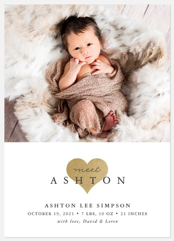 Luxe Heart Baby Birth Announcements