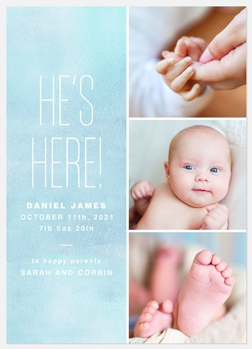 Bold Arrival Baby Birth Announcements