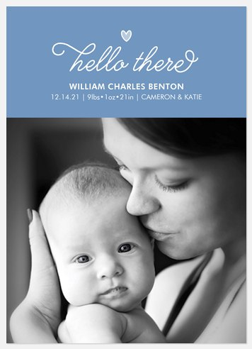 Hello Heart Baby Birth Announcements