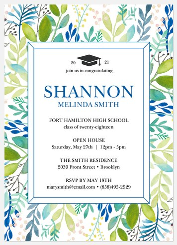 Blooming Frame Graduation Cards
