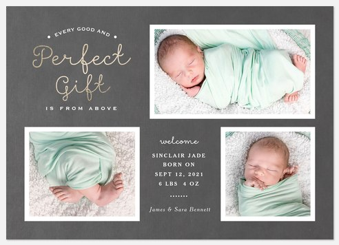 Embellished Script Baby Birth Announcements