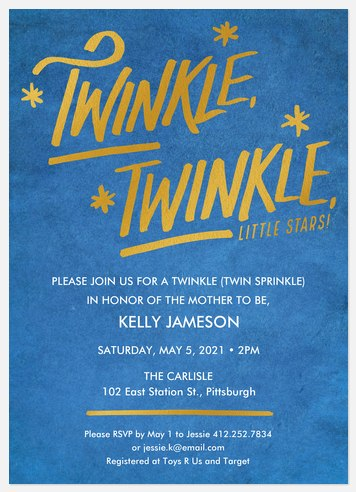 Twinkle Stars Baby Shower Invitations
