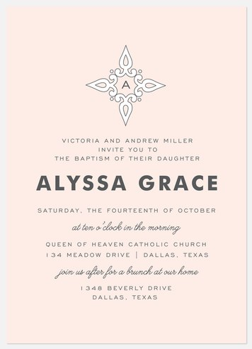 Touched By Grace Baptism Christening Invitations