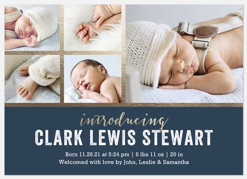 Gilded Gift  Baby Birth Announcements