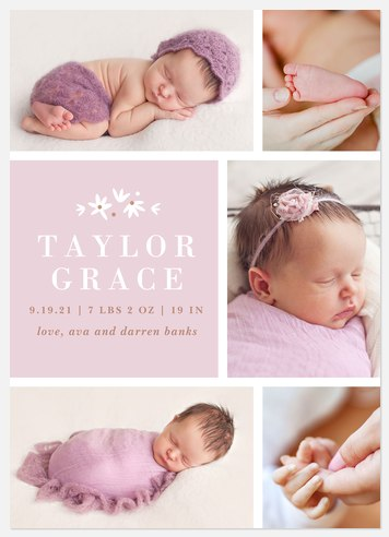 Precious Flower Baby Birth Announcements