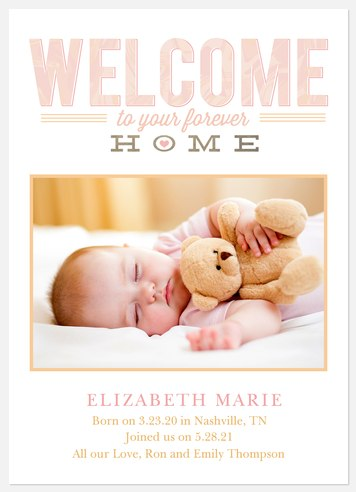 Forever Home: Hearts Baby Birth Announcements